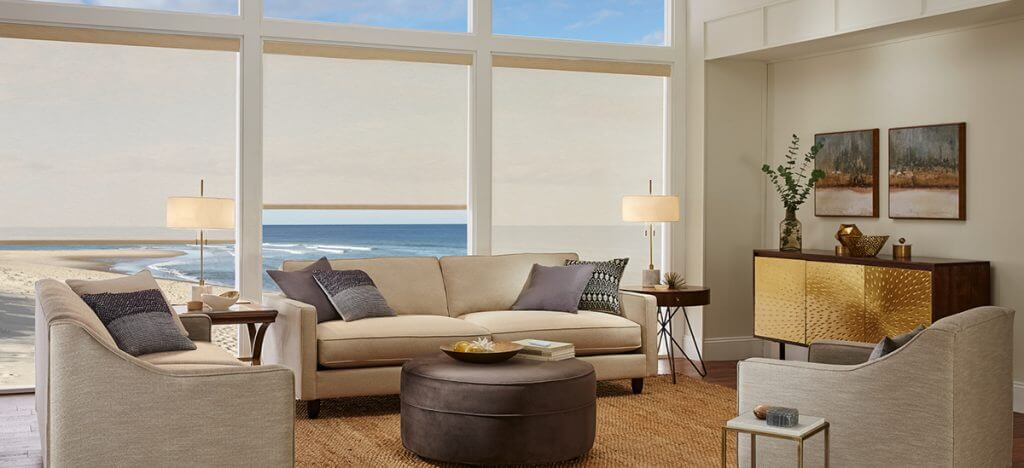 PRODUCT: ROLLER SHADES MATERIAL: 1% SHEERWEAVE 5000 COLOR: JUTE/FLAX R0709